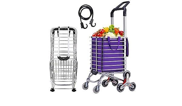 968cf4eef909 Amazon.com: Lovinland Shopping Cart Folding Grocery Trolley Stair ...