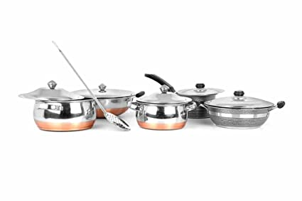 17d0a07e0a4 Image Unavailable. Image not available for. Colour  Mahavir Enterprises Stainless  Steel Induction Lpg Compatible Cookware Set ...
