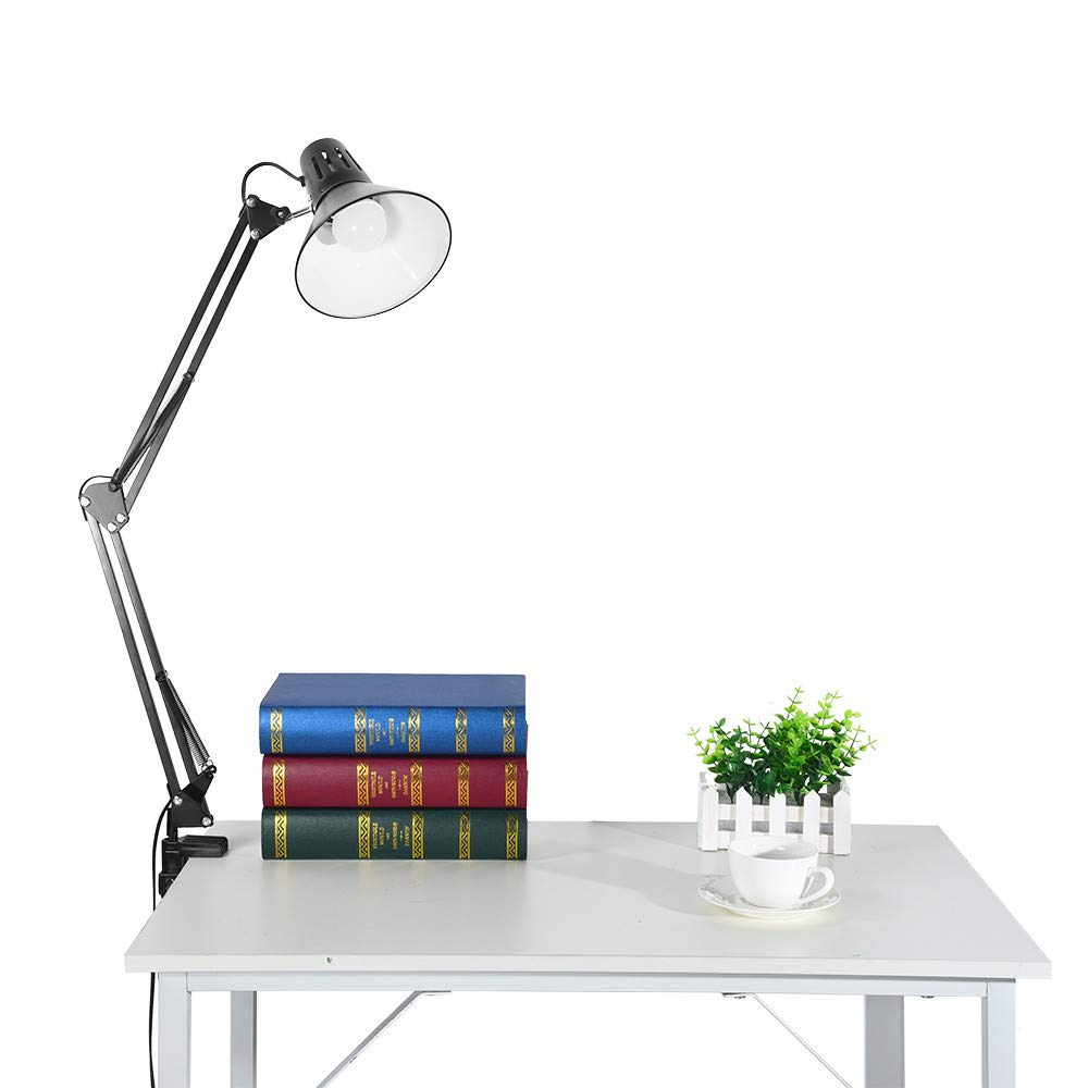 WONdere Rocker Armrest Table Lamp, Bedside Desk Clip Table Lamp Creative Office Desk Folding Table Lamp Black