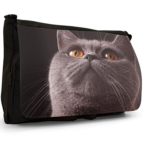 Beautiful Grey British Shorthair Cat Large Messenger Black Canvas Shoulder Bag - School / Laptop Bag Yellow Eyed Cat Looking Up
