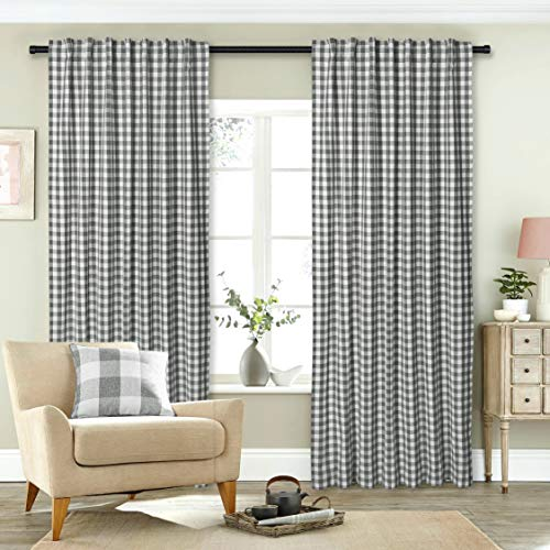 (Gingham Check Window Curtain Panel, 100% Cotton, Charcoal/White, Cotton Curtains, 2 Panels Curtain, Tab Top Curtains, 50x84 Inches, Set of)