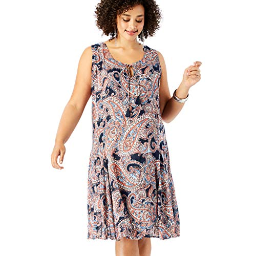 Roamans Women's Plus Size A-Line Crinkle Dress with Tassel Ties - Navy Paisley Print, 26/28 (Godet Hem Dress)