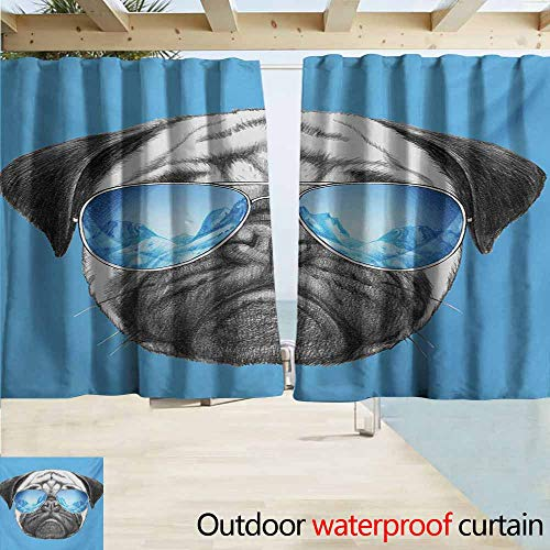 AndyTours Rod Pocket Curtains,Pug Pug Portrait with Mirror Sunglasses Hand Drawn Illustration of Pet Animal Funny,Energy Efficient, Darkening,W72x72L Inches,Pearl Blue Black