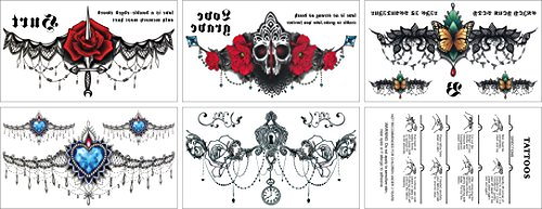 Sternum Temporary Tattoos, fashion waterproof tattoos, 5 Large Sheets, by WffDirect, Color Flash Fake Waterproof Tattoo Stickers- For Women Teens Girls Butterfly Lower Back Temporary Tattoo