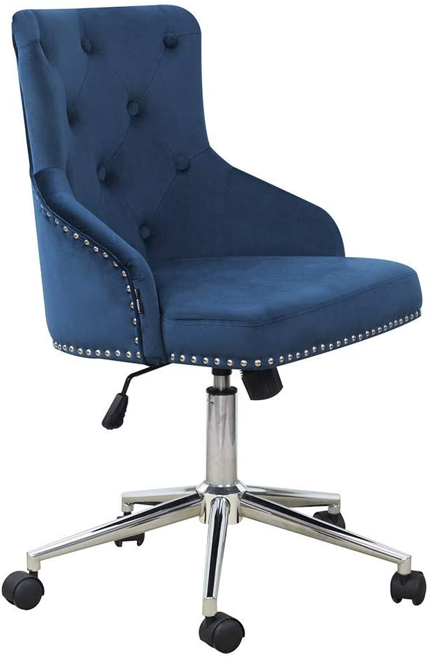 DMF Furniture Home Office Chair with High Back, Modern Design Velvet Desk Task Chair with Arms in Study Bedroom (Navy Blue)
