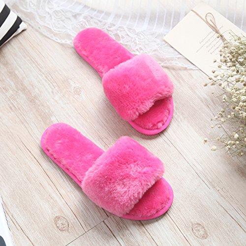 Fankou fondo piatto pantofole di cotone femmina esterno inverno indossare pantofole home incantevole autunno inverno spesso maglione anti-slittamento ,37-38, rosso ciliegia