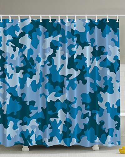 Camo Shower Curtain by Ambesonne, Blue Military Camouflage Southwestern Army Navy Forces the Great Adventure Authentic Art American Fabric Home Decor Fashion Bathroom Man Cave Art Print for Guys (Shower Curtain Camouflage)