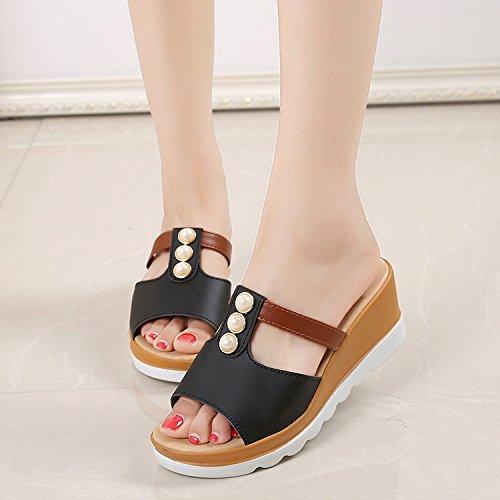 ZPPZZP Ms sandali pantofole stile Coreano trascinare pendenza 37EU spesso nero