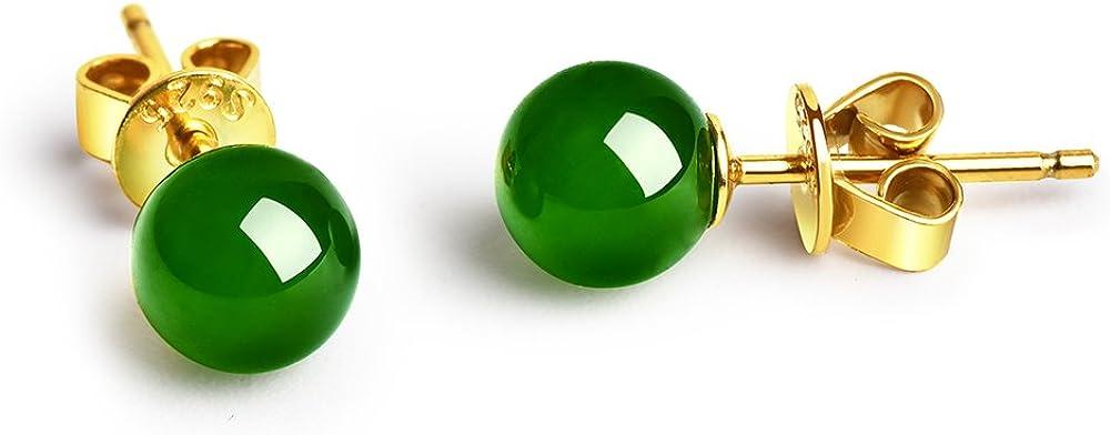 dalwa Plata Pendientes–Oro Rosa dorados pendientes de plata de ley 925con arbolito Jade de perlas verde Incluye regalo del paquete