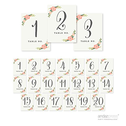 Andaz Press Table Numbers 1 - 20 on Perforated Paper, Floral Roses Print, 4.25 x 5.5-inch Cardstock Sign, 1-Set, For Weddings, Baptism, Sweet 16
