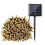 LED Solar Light String with Remote Outdoor Waterproof 36 Feet 12 Meter Long 8 Lighting Effects Warm White
