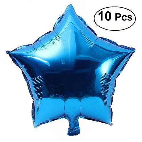 (BinaryABC Star Balloons, Foil Balloon, Party Five-Point Mylar Balloons Wedding Birthday Party Decoration 18 inch 10pcs(Blue))