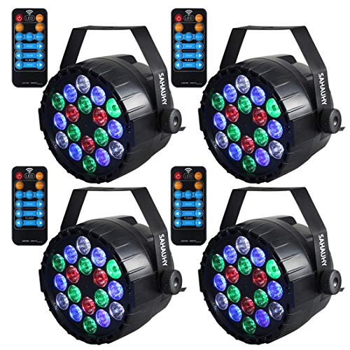 Stage Lights,SAHAUHY RGBW 18 Leds Par Lights Sound Activated DMX Color Mixing Dj Lights Party Lights with Remote -