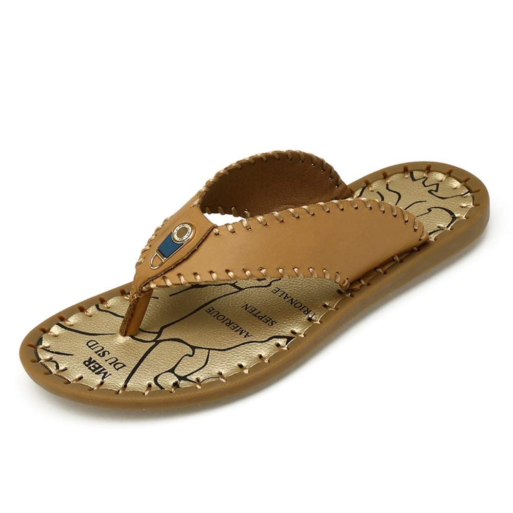 Beige Flip flops Men's Hand-sewn Beach Pool Slide Slippers Thong Slippers Leather Sandals Vamp Decorative Metal Nails flip flops (color   Beige, Size   8 UK)