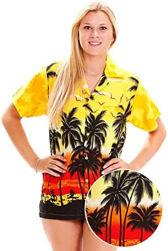 Funky Hawaiian Blouse Women Short-Sleeve Front-Pocket Beach Palm Multi Colors