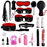 Roche.Z 19pcs/Set Nylon Leather Suit, Plush Set Sexy Toy Suit Special Bundled Binding Nylon Leather SM Kit for Couple Adult Sexy Suit Plush Set Alternative Bundled Binding Set