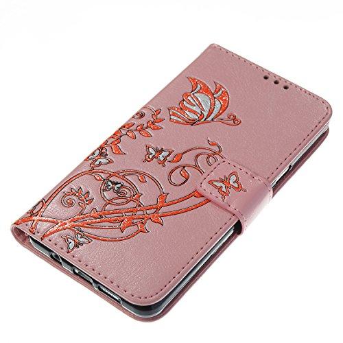 Para Samsung Galaxy A5 2017/A520 funda, (gris) Narcisos caja del teléfono de la PU patrón en relieve ,Función de Soporte Billetera con Tapa para Tarjetas correa de mano soporte para teléfono rosa