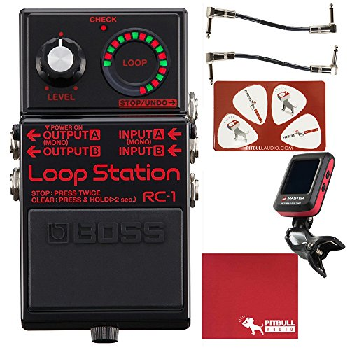 BOSS RC-1 Loop Station Pedal Limited Edition Black with Cables, Tuner, Polish Cloth, and Picks by Pitbull