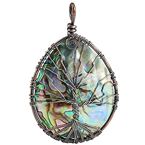 SUNYIK Rainbow Abalone Shell Tree of Life Pendant Necklace,Teardrop Wire Wrapped Jewelry - Life Pendant Wire