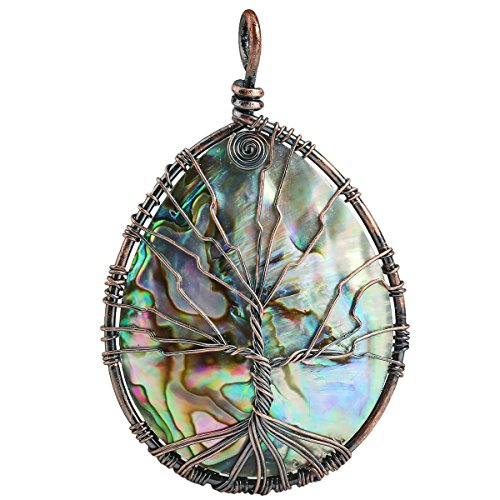 (SUNYIK Rainbow Abalone Shell Tree of Life Pendant Necklace,Teardrop Wire Wrapped Jewelry)