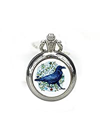 Crow Necklace Crow Pocket Watch Pendant Primitive Crow Celtic Raven Pocket Watch Necklace Crow Jewelry