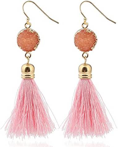 Women Natural Healing Crystal Stone Tassel Bohemian Colorful Drop Dangle Earrings