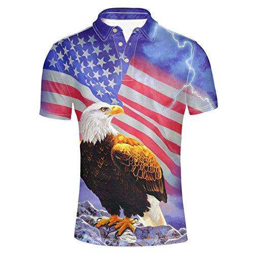 (HUGS IDEA Cool Men's Polos Shirt America Flag Eagle Lightning Print T-Shirt Fashion Summer Short Sleeves)