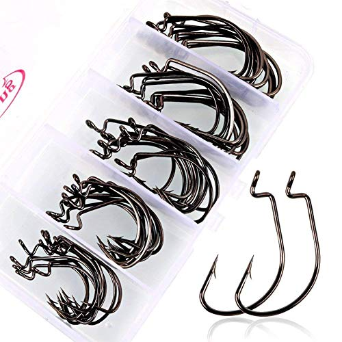 Sougayilang Fishing Hooks High Carbon Steel Worm Soft Bait Jig Fish Hooks with Plastic Box (Best Way To Bait A Hook With Shrimp)