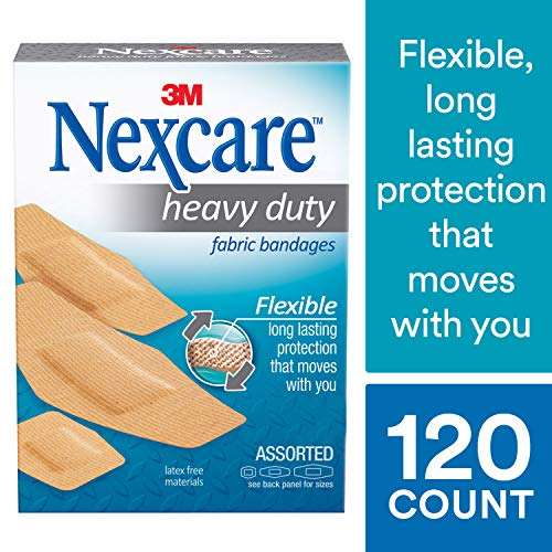 (Nexcare Heavy Duty Flexible Fabric Bandages, Durable Fabric, For Sports, Assorted Sizes, 30 Count Packages (Pack of 4))