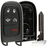 KeylessOption Keyless Remote Smart Key Fob Shell Case Button Pad Cover For Ram, Jeep Cherokee GQ4-54T