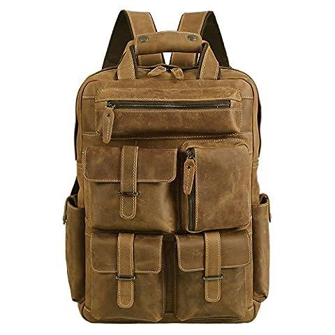 Polare Mens Handcrafted Real Leather Vintage Laptop Backpack Shoulder Bag Travel Bag Large