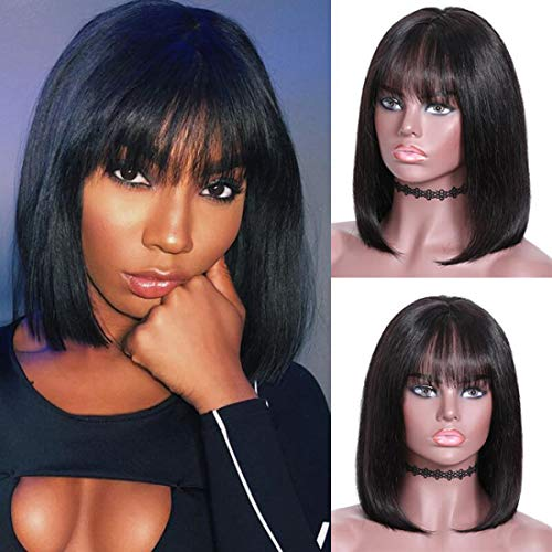 UNice Hair 13x4 Lace Front Short Bob Wigs Human Hair with Bangs, 180% Density, Brazilian Virgin Hair Straight Lace Frontal Wigs Natural Color (14 inch) (Bangs For High Forehead And Thin Hair)