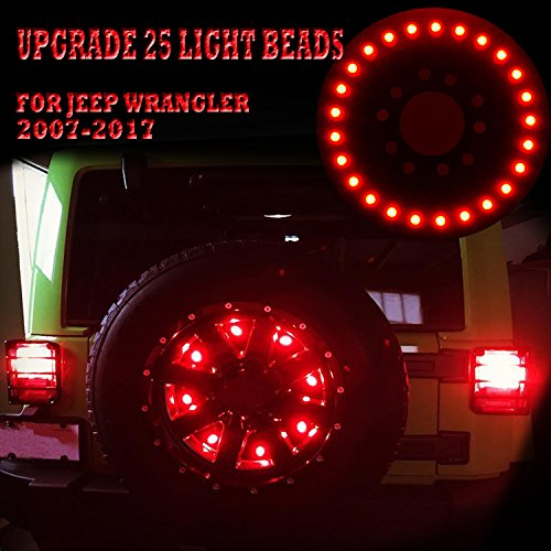 Yoursme Upgrade Spare Tire Brake Lights 3rd Taillight LED for Jeep Wrangler JK JKU Unlimited Rubicon Sahara X Sport 2&4 Door 2007 2008 2009 2010 2011 2012 2013 2014 2015 2016 2017