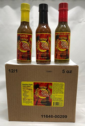 Conch Turbo Sauce Mixed Case of 12/ 5 Oz bottles 4 of each recipe