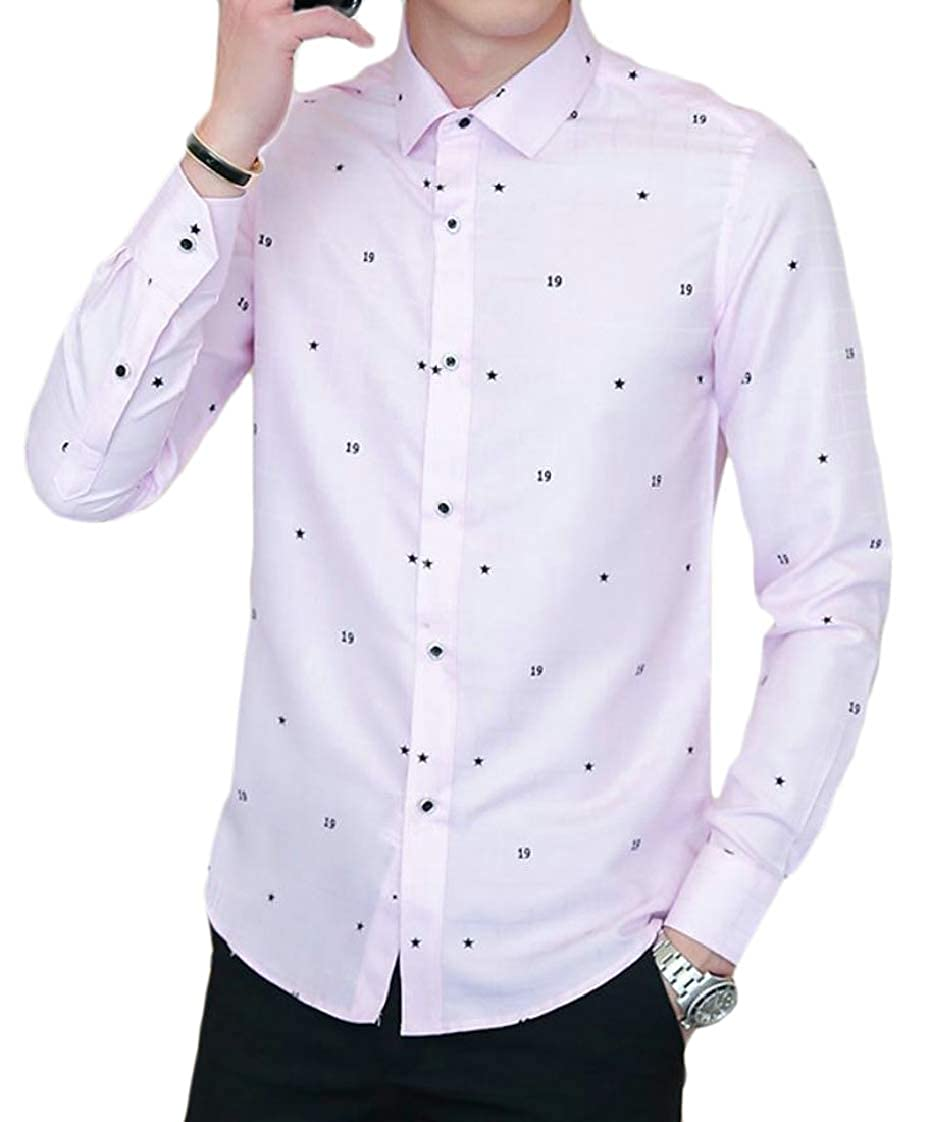 Pandapang Mens Print Turn Down Long Sleeve Casual Button Front Shirts