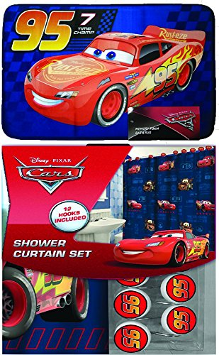 Disney Marvel New 13pcs Set (Shower Curtain with Hooks) OR 14pcs Set (Shower Curtain Set with Bath Memory Foam Mat) (Cars, 14pcs Set - Shower Curtain set & Memory Mat) (Disney Cars Shower Curtain)