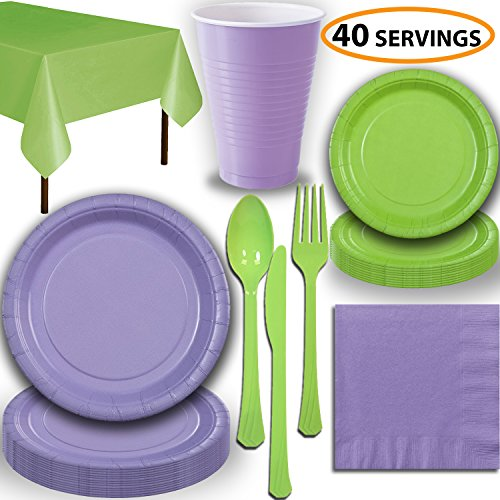 Disposable Party Supplies, Serves 40 - Lavender and Lime Green - Large and Small Paper Plates, 12 oz Plastic Cups, Heavyweight Cutlery, Napkins, and Tablecloths. Full Two-Tone Tableware Set