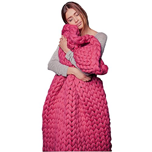 EASTSURE Knit Acrylic Blanket Hand-made Chunky Bed Sofa Throw Super Large,Rose Pink,40