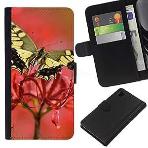 All Phone Most Case / Oferta Especial Cáscara Funda de cuero Monedero Cubierta de proteccion Caso / Wallet Case for Sony Xperia Z1 L39 // Moth Butterfly Flower Spring Nature