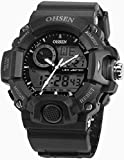 Men's LCD Dual Core Digital Date Analog Stopwatch Waterproof Sport Rubber Watch OHS215