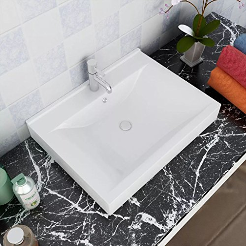 Bathroom Luxury Ceramic Vessel Sinks Above Counter, Wash Basin Rectangular with Faucet Hole 23.6