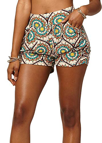 Premium Ultra Soft Harem High Waisted Shorts for Women with Pockets - Heliocentric - Large/X-Large (12-18) - NHS-F674-LX