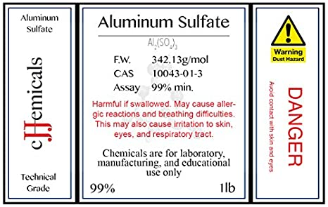 Aluminum Sulfate Al2so43 Minimum 99 Pure 4 Pounds In Bottles