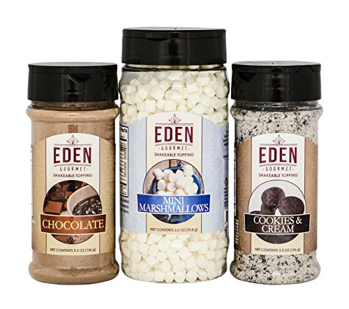 Cappuccino Topping (Eden Gourmet - Chocolate, Cookies & Cream and Mini Marshmallows Topping Shakers - Set of 3)