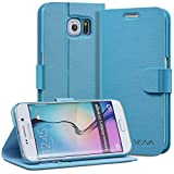 Vena® Samsung Galaxy S6 Edge Wallet Case [vSuit] Draw Bench PU Leather Snap Case Cover with [Card Pockets] for Samsung Galaxy S6 Edge (Electric Blue)