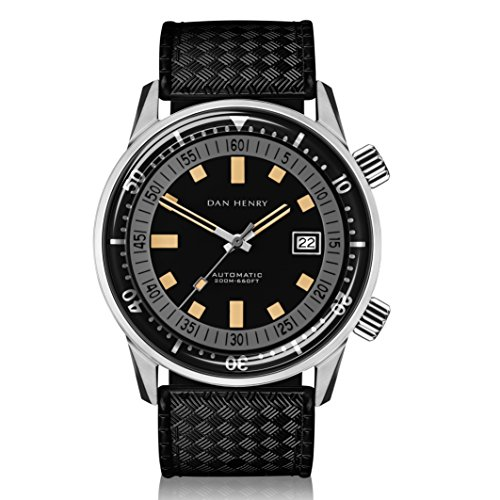 Dan Henry 1970 Automatic Diver Super Compressor 200 Meters watch. Mate Black Dial with Date, Double Crown and Inner Rotating Bezel, Limited Edition, 44mm Stainless Steel Case, Black Rubber Strap Limited Edition Black Dial