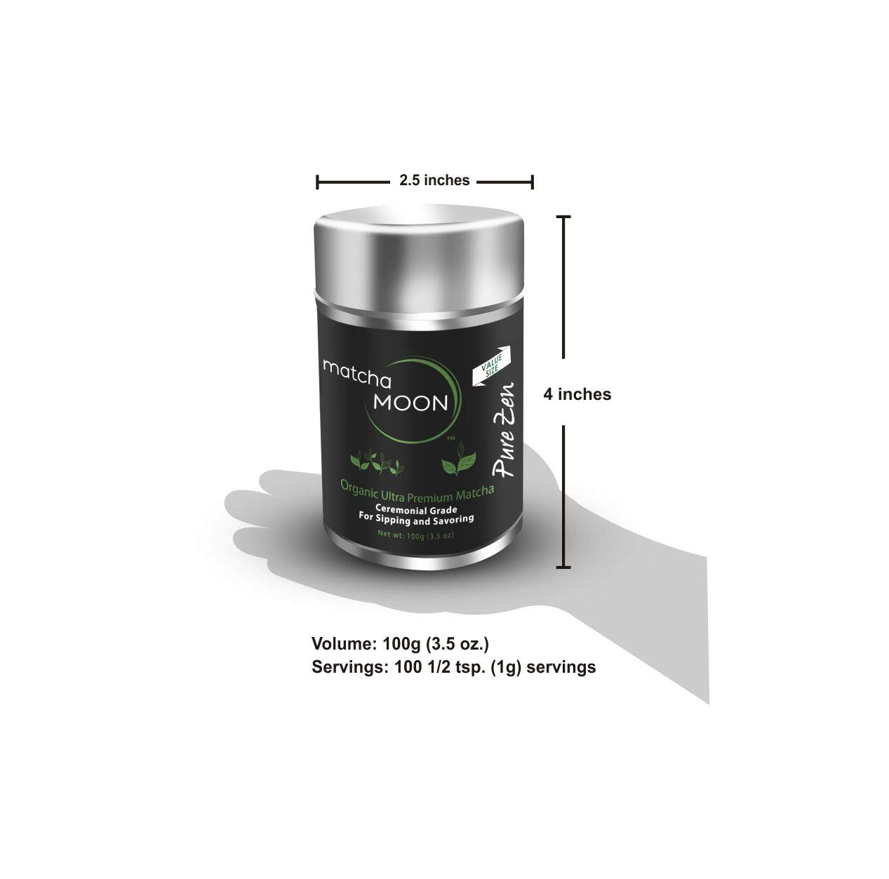 Matcha Moon - Organic Ceremonial Grade Japanese Matcha Green Tea Powder from Uji Kyoto Japan - Authentic, Premium, USDA Certified - Best For Traditionally Whisked Tea - Pure Zen - Value Size 100g Tin by Matcha Moon (Image #7)