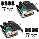 Jienk DB15 Solderless Male RS232 D-SUB Serial Adapters, 16mm thinner 15 Pin Port Terminal Solderfree Breakout Connector Board with Case Accessories(2 Pack)