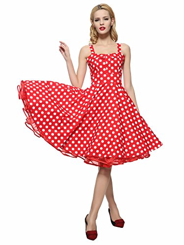 Maggie Tang Women's 1950s Vintage Rockabilly Dress Red White 3XL -
