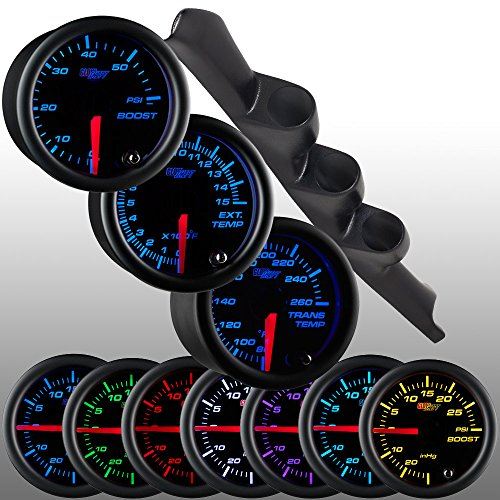 (GlowShift Diesel Gauge Package for 1995-1998 Chevrolet Chevy C/K 2500 3500 Truck - Black 7 Color 60 PSI Boost, 1500 F Pyrometer EGT & Transmission Temperature Gauges - Black Triple)